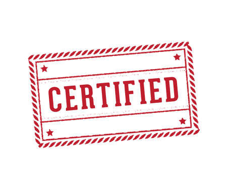 Stamp label tag of certified mark perfectly suitable for document, paper, and product.