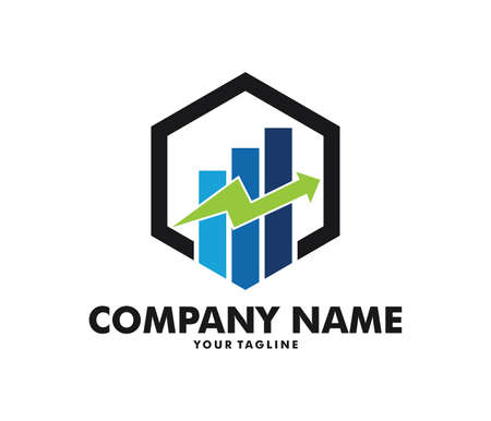 A vector logo design info graphic with line bar chart of financial or stock exchange, increase profit, business management company