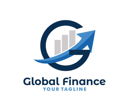 vector logo design info graphic with line bar chart of financial or stock exchange, increase profit, business management company in letter G