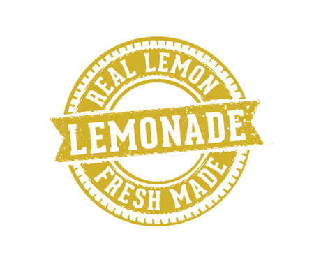 vintage vector label tag and stamp design perfect suitable for lemonade drink beverage and lemon juice, fresh made,