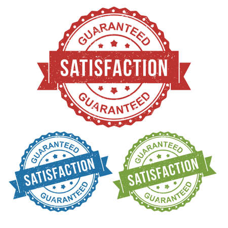 satisfaction, guaranteed, recommended, vector badge label stamp tag for product marketing selling, online shop, in red, blue, green package set collection
