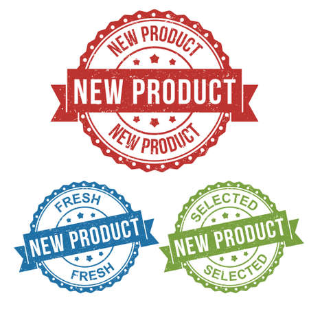 new product, fresh, selected, vector badge label stamp tag for product marketing selling, online shop, in red, blue, green package set collection Stock Illustratie
