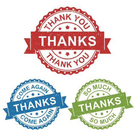 thanks, thank you, come again, vector badge label stamp tag for product marketing selling, online shop, in red, blue, green package set collection