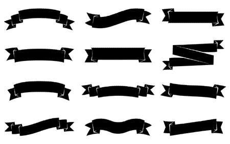 Bannière de ruban noir rustique vintage blanc unique, jeu rayé Banque d'images - 94715628