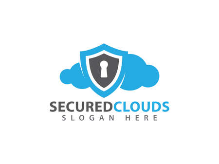 Online secure and guarded shield cloud storage vector design for web icon, application icon, icons, brand identity and more.