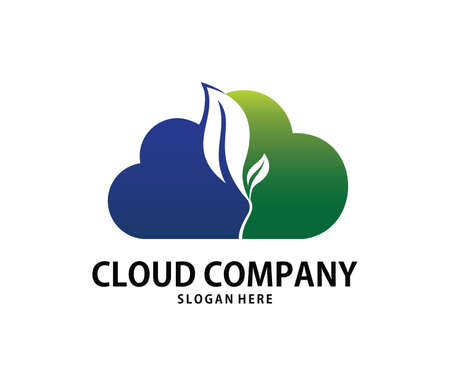 A vector online green energy sprout cloud storage logo design for web logo, application logo, icons, brand identity and more Illustration