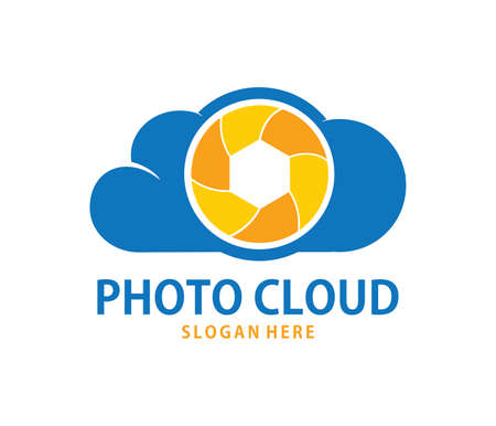 A vector online shutter camera photo gallery cloud storage logo design for web logo, application logo, icons, brand identity and more