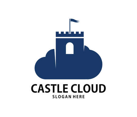 A vector online stronghold castle cloud storage logo design for web logo, application logo, icons, brand identity and more