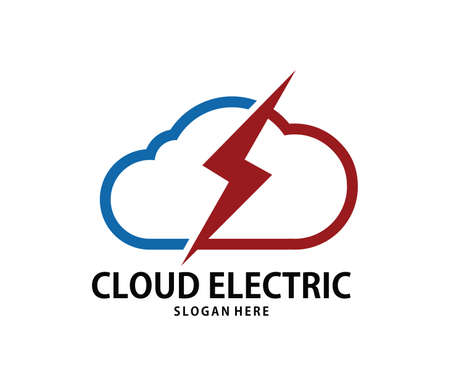 A vector online lightning power fast cloud storage logo design for web logo, application logo, icons, brand identity and more Illustration
