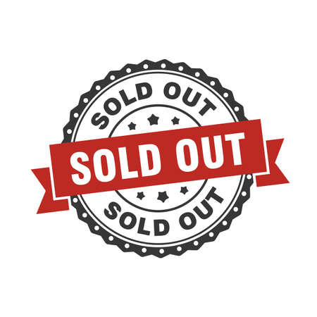Vector of sold out for label, marker, tag, stamp, sticker on e-commerce, paper and more market selling product