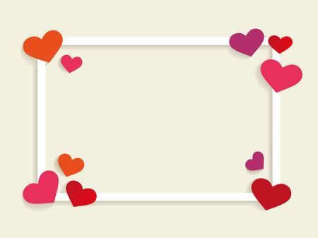 cadre carré avec forme de coeur dans le coin avec la conception de vecteur de couverture pour le thème fond Saint-Valentin pour modèle de carte cadeau, carte de voeux, fond d'écran, fond Web, etc.