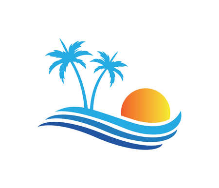 hotel tourism holiday summer beach coconut palm tree vector logo design for resort home stay hospitality business