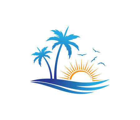 hotel tourism holiday summer beach coconut palm tree vector logo design for resort home stay hospitality business 스톡 콘텐츠 - 94993208