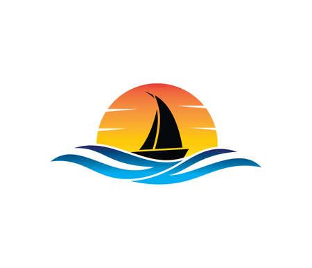 벡터 로고 바다 바다 물 해변 여름 여행, 투어, 요트, 호텔 우주선, 바다에서 환대 비즈니스