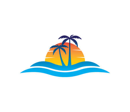 vector logo design of ocean sea water beach summer sailing tourism for travel,tour, yacht, hotel ship, hospitality in the sea business 스톡 콘텐츠 - 94972368