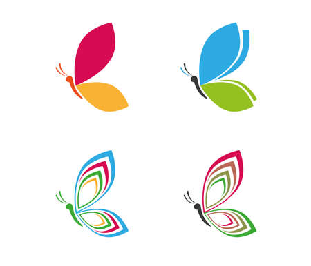 beautiful graceful majestic colorful butterfly vector icon design for yoga, wellness, beauty salon, cosmetic and more