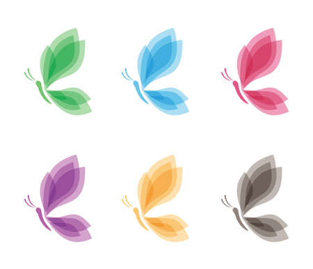 Beautiful graceful majestic colorful butterfly vector logo design for yoga, wellness, beauty salon, cosmetic and more Stock Illustratie