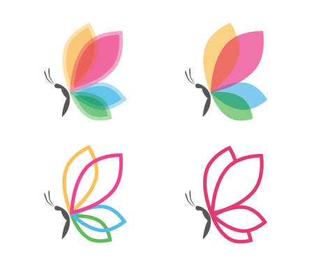 Beautiful graceful majestic colorful butterfly vector logo design for yoga, wellness, beauty salon, cosmetic and more Vettoriali
