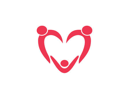 orphan child adoption family with heart shape iconic vector logo design for charity, community, parenting, education and more