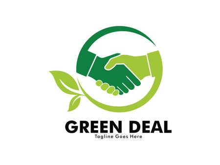 Diseño de logotipo de vector de apretón de manos de trato de naturaleza verde para la comunidad de amigos de la naturaleza. Logos