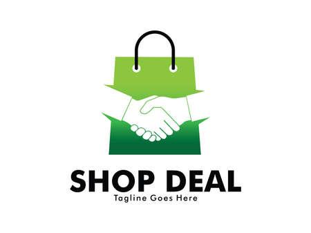 online shop deal handshake vector logo design with shopping bag