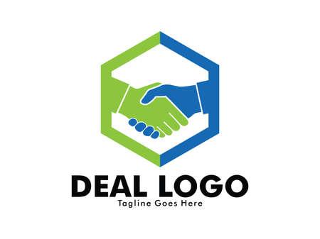 vector logo design of deal handshake sign meaning of friendship, partnership cooperation, business teamwork and trust Foto de archivo - 95728045