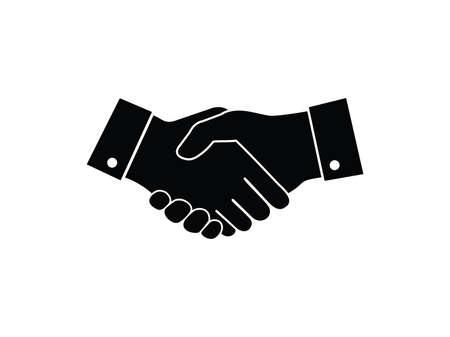 progettazione di logo di vettore del significato del segno della stretta di mano di affare di amicizia, cooperazione di collaborazione, lavoro di squadra di affari e fiducia