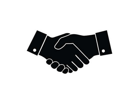 vector logo design of deal handshake sign meaning of friendship, partnership cooperation, business teamwork and trust Stock Illustratie