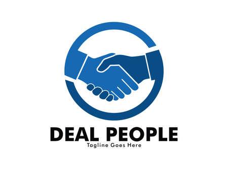 友情、パートナーシップ協力、ビジネスチームワーク、信頼の意味を持つディールハンドシェイクサインのベクターロゴデザイン