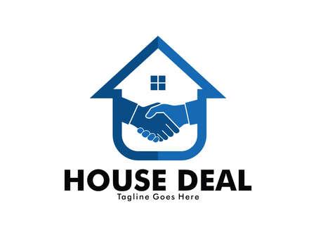 casa e commerciante di proprietà con la stretta di mano marketing vector logo design del mutuo, progetto di soggiorno a casa