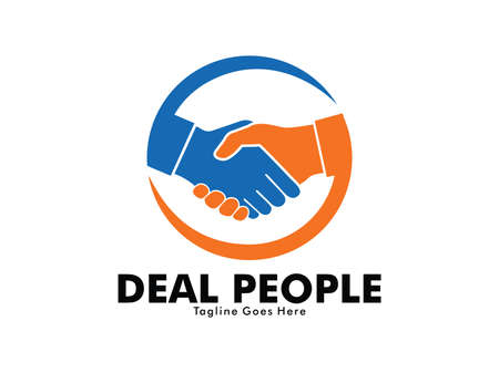 vector logo design of deal handshake sign meaning of friendship, partnership cooperation, business teamwork and trust Vectores