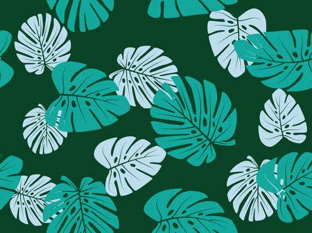 Green monstera leaf vector tropical theme seamless pattern 向量圖像