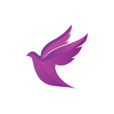 flying dove pigeon vector logo design symbol of peace and humanity Vettoriali