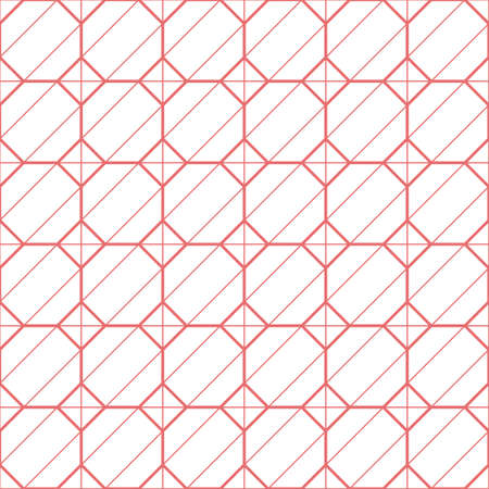 simple pink lined square hexagon combine vector seamless pattern template