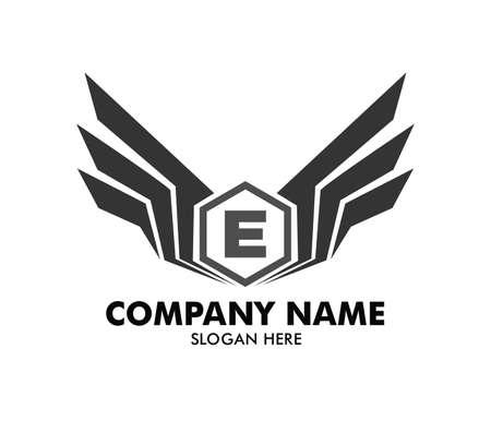 Letter E inside polygon emblem with wings vector logo design