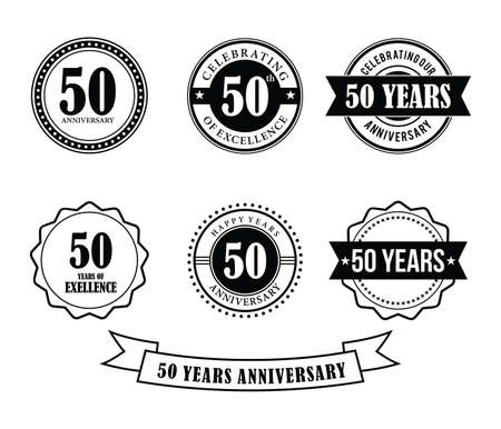 50 years anniversary badge emblem stamp vector set template