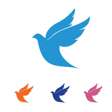 flying dove pigeon vector logo design symbol of peace and humanity Çizim