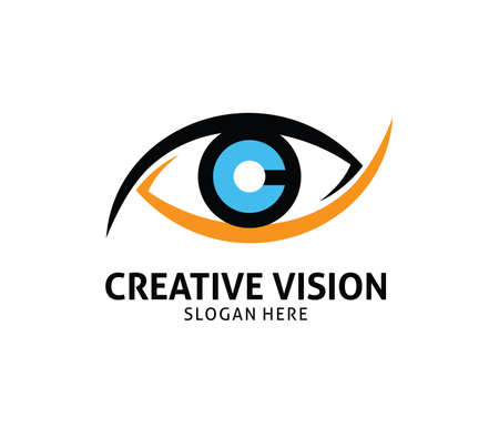 Letter c cornea eye future vision vector logo design template