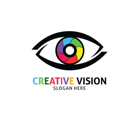 Optical technology eye future vision vector logo design template
