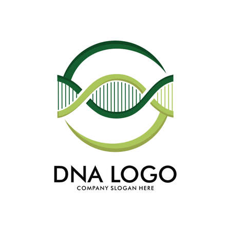 DNA helix scientific laboratory vector logo design template