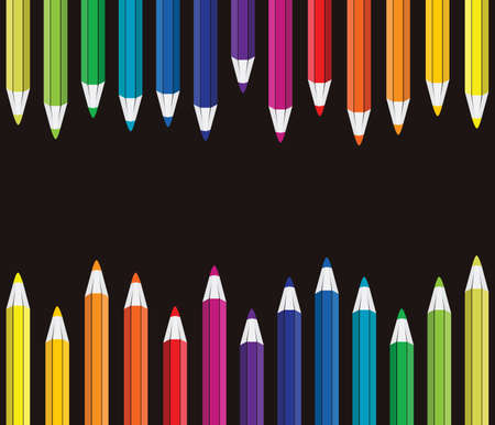 lined up rain bow pencil color vector seamless pattern template Illustration