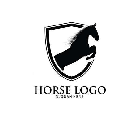 Black shield horse vector logo design template Illustration