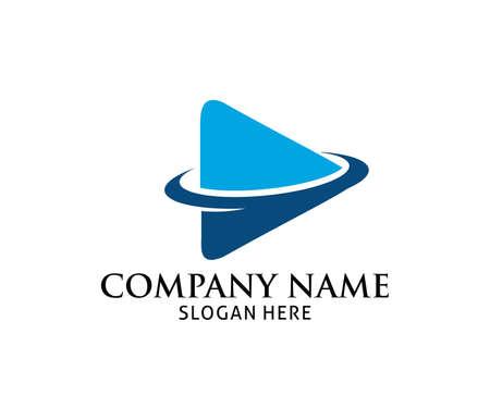 Blauwe dynamische multimedia spelen applicatie vector logo ontwerpsjabloon.