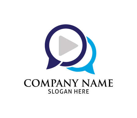 Chat messenger multimedia play application vector logo design template. 일러스트