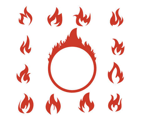Red flaming fire clip art  vector set template. Illustration