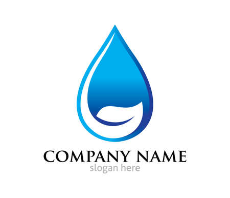 Water drop leaf pure source vector design template.