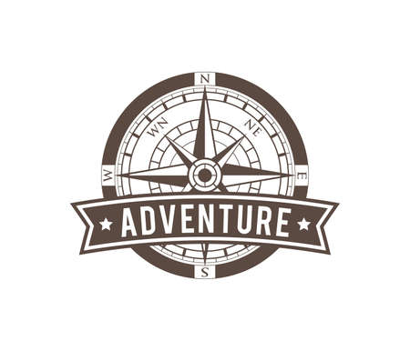 compass wind rose travel adventure direction navigation vector logo design template