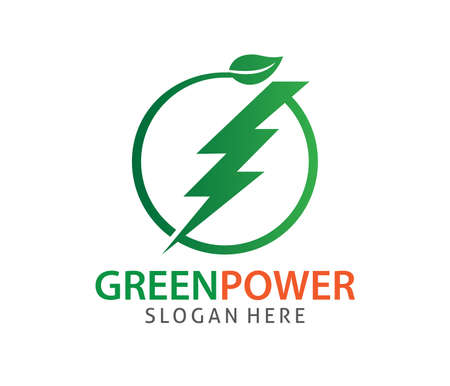 Green energy zero emission power electricity vector logo design template