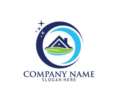 Vektor-Logodesign des Berufsreinigungswaschservice-Haushaltswartungs Logo