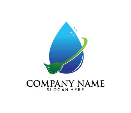 Professional cleaning washing service household maintenance vector logo design
